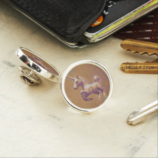 ユニコーンのラペルピンの円形の銀(金属のラベンダー) ラペルピン