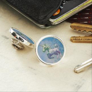 ユニコーンのラペルピンの円形の銀(青い北極) ラペルピン