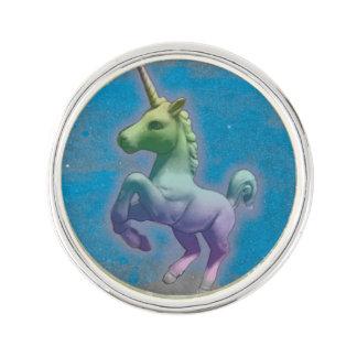 ユニコーンのラペルピンの円形の銀(青い星雲) ラペルピン