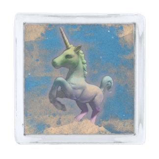 ユニコーンのラペルピンの正方形(サンディの青) シルバー ラペルピン