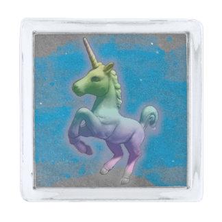 ユニコーンのラペルピンの正方形(青い星雲) シルバー ラペルピン