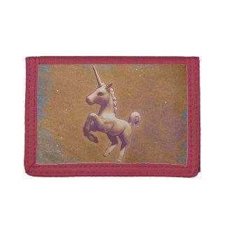 ユニコーンの三重ナイロン財布(金属のラベンダー)