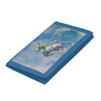 ユニコーンの三重ナイロン財布(青い北極) ナイロン三つ折りウォレット