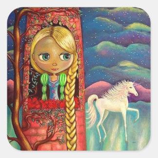 ユニコーンの友人が付いているピンクタワーのRapunzel スクエアシール