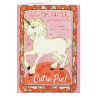 ユニコーンの娘のためのペーパー人形のバレンタイン カード