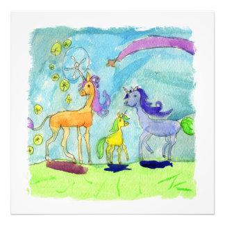 ユニコーンの子馬家族との水彩画の絵画 フォトプリント