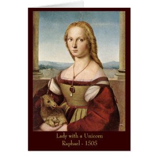 ユニコーンの挨拶状を持つRaphaelの女性 カード