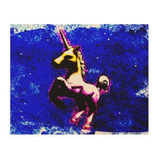 ユニコーンの木製の壁の芸術10x8 (パンクのカップケーキ) ウッドウォールアート