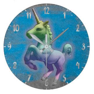 ユニコーンの柱時計|の青い星雲 ラージ壁時計