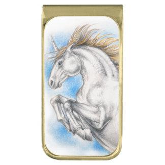 ユニコーンの水彩画 ゴールド マネークリップ