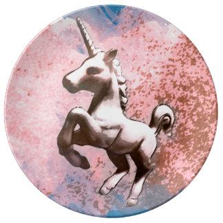 ユニコーンの磁器皿の装飾(衰退したシャーベット) 磁器プレート
