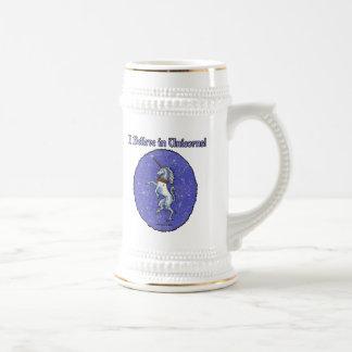 ユニコーンの紫色の模造のなグリッターの楕円形 ビールジョッキ