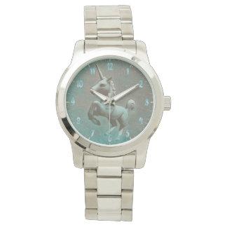 ユニコーンの腕時計|のティール(緑がかった色)の鋼鉄 腕時計