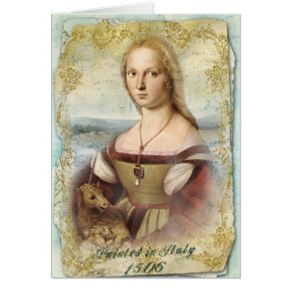 ユニコーンの若い女性 カード