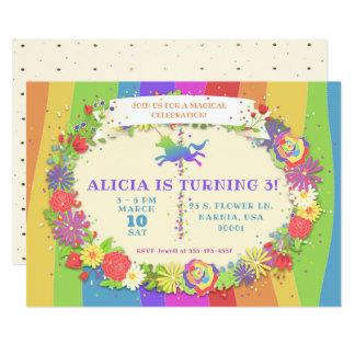 ユニコーンの虹の回転木馬の誕生日のパーティの招待状 カード