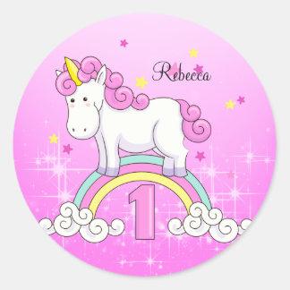 ユニコーンの虹の第1誕生会のカスタム ラウンドシール