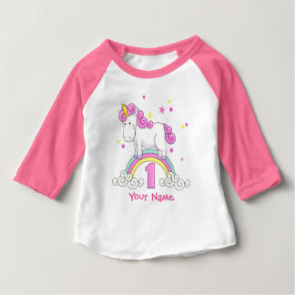 ユニコーンの虹の第1誕生会 ベビーTシャツ