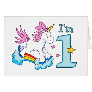 ユニコーンの虹の第1誕生日書き込み式カード招待 カード