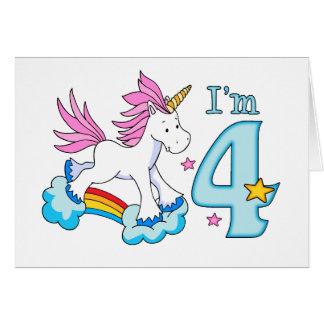 ユニコーンの虹の第4誕生日 カード