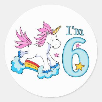 ユニコーンの虹の第6誕生日 ラウンドシール