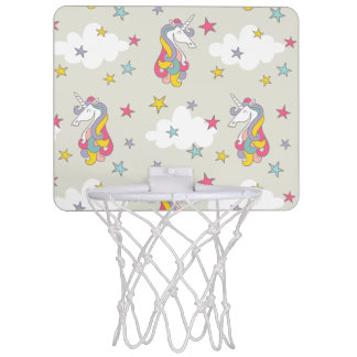 ユニコーンの虹の雲およびカラフルな星 ミニバスケットボールネット