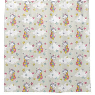ユニコーンの虹の雲及びカラフルの星の浴室 シャワーカーテン