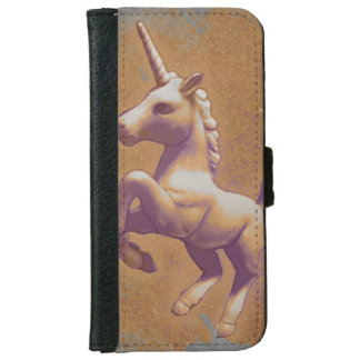 ユニコーンの電話ウォレットケース(金属のラベンダー) iPhone 6/6S ウォレットケース