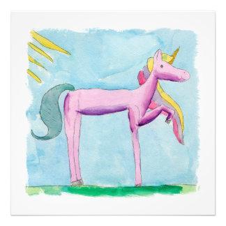 ユニコーンの馬との幼稚な水彩画の絵画 フォトプリント