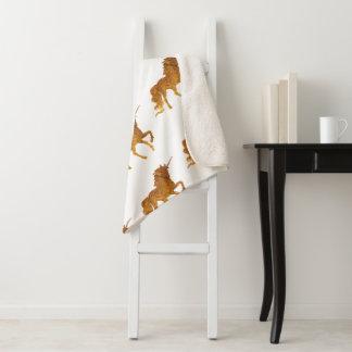 ユニコーンのSherpa魅力的な金毛布 シェルパブランケット