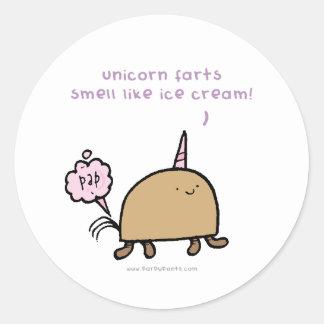 ユニコーンは臭いアイスクリームのステッカーのような屁をします ラウンドシール