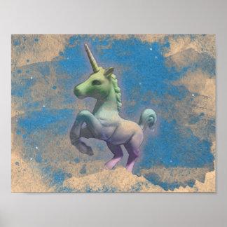 ユニコーンポスター芸術のプリント11x8.5 (サンディの青) ポスター