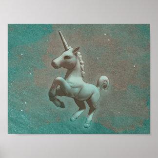 ユニコーンポスター芸術のプリント11x8.5 (ティール(緑がかった色)の鋼鉄) ポスター