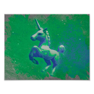 ユニコーンポスター芸術のプリント11x8.5 (白熱[赤熱]光を放つなエメラルド) ポスター