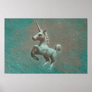 ユニコーンポスター芸術のプリント16.5x11 (ティール(緑がかった色)の鋼鉄) ポスター