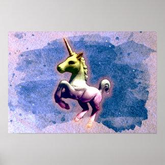 ユニコーンポスター芸術のプリント19x13 (燃やされた青) ポスター