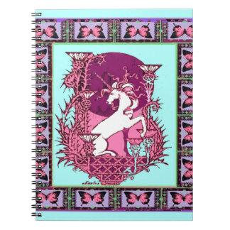 ユニコーン及びアザミの青紫色の月の新しいDesig ノートブック