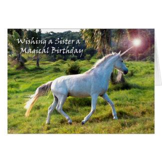 ユニコーン、姉妹のための誕生日、魔法の夢 グリーティングカード