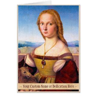 ユニコーンRaphael Santiのポートレートのペンキを持つ女性 カード