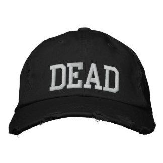 ユニセックスで黒い死んだ帽子 刺繍入りキャップ