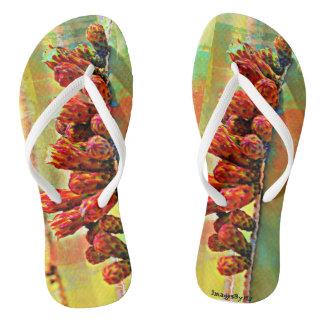 ユニセックスなビーチサンダル-ペンキのサボテンの開花 ビーチサンダル