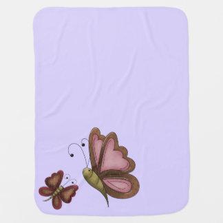 ユニセックスな国の蝶ラベンダー ベビー ブランケット