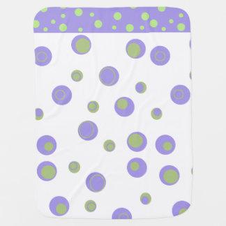 ユニセックスな紫色の緑の水玉模様 ベビー ブランケット