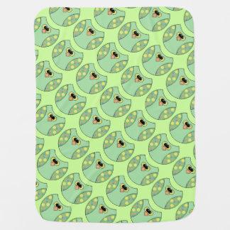 ユニセックスな緑のフクロウ ベビー ブランケット
