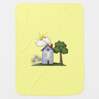 ユニセックスな邸宅の黄色 ベビー ブランケット