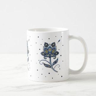 ユニークでエレガントでカスタムな花のペイズリーの青 コーヒーマグカップ
