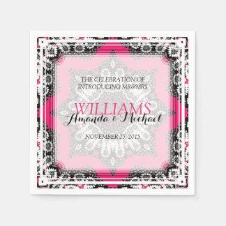 ユニークでスタイリッシュなピンクの黒い結婚式の紙ナプキン スタンダードカクテルナプキン