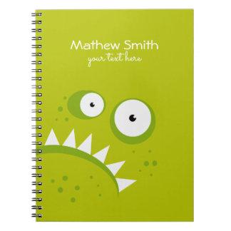 ユニークで気難しい怒っているおもしろいで恐い緑モンスター ノートブック