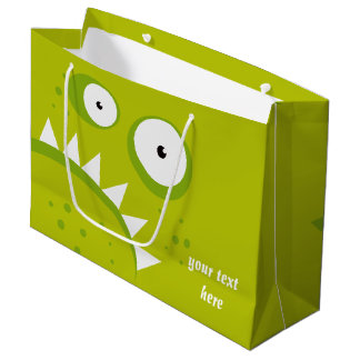 ユニークで気難しい怒っているおもしろいで恐い緑モンスター ラージペーパーバッグ