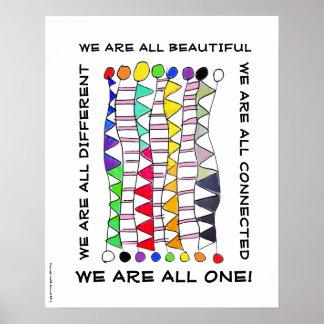 ユニークで美しい及び1つの多様性のお祝い ポスター