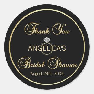 ユニークで黒い金ゴールドの結婚指輪のブライダルシャワー ラウンドシール